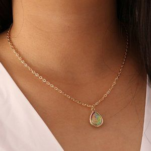 3/$20 New Gold & Red Iridescent Necklace